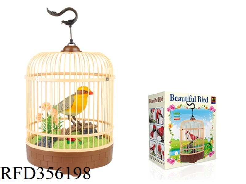 SIMULATION RECORDING ROUND CAGE (YELLOW) SINGLE BIRD