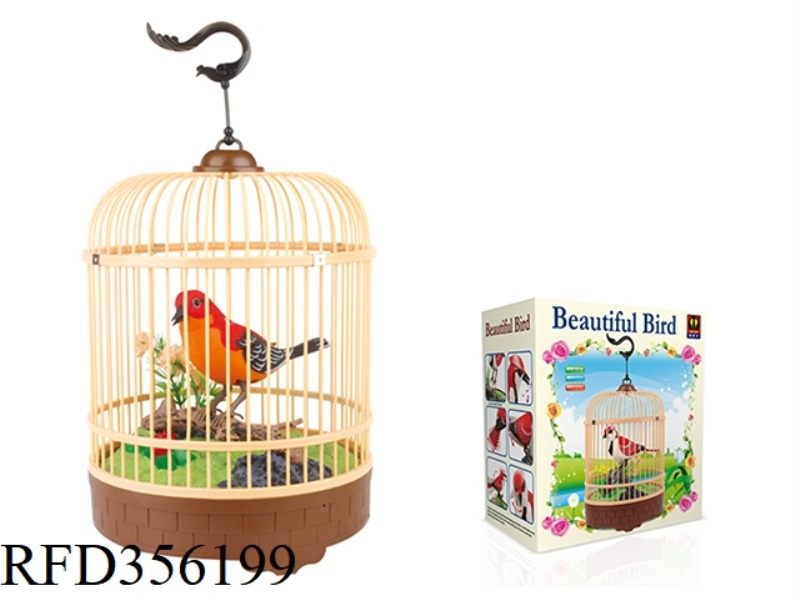 SIMULATION RECORDING ROUND CAGE (RED) SINGLE BIRD