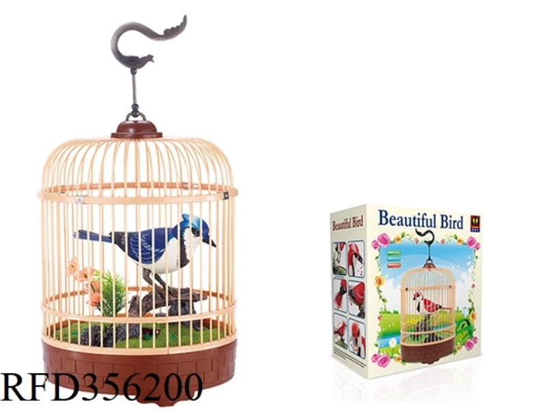SIMULATION RECORDING ROUND CAGE (BLUE) SINGLE BIRD