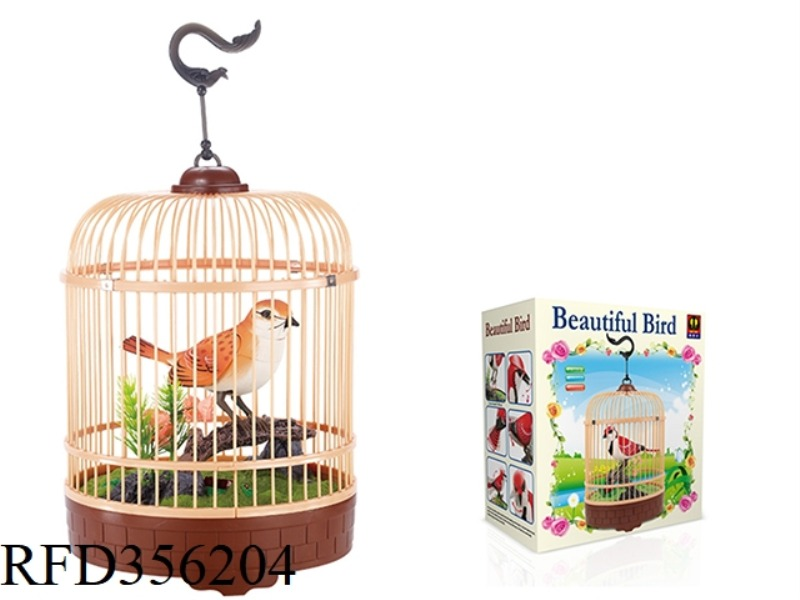 SIMULATION RECORDING ROUND CAGE (ORANGE) SINGLE BIRD
