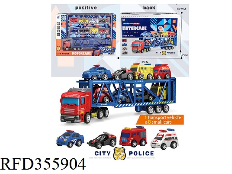 1 TRANSPORT VEHICLE + 8 POLICE CARS