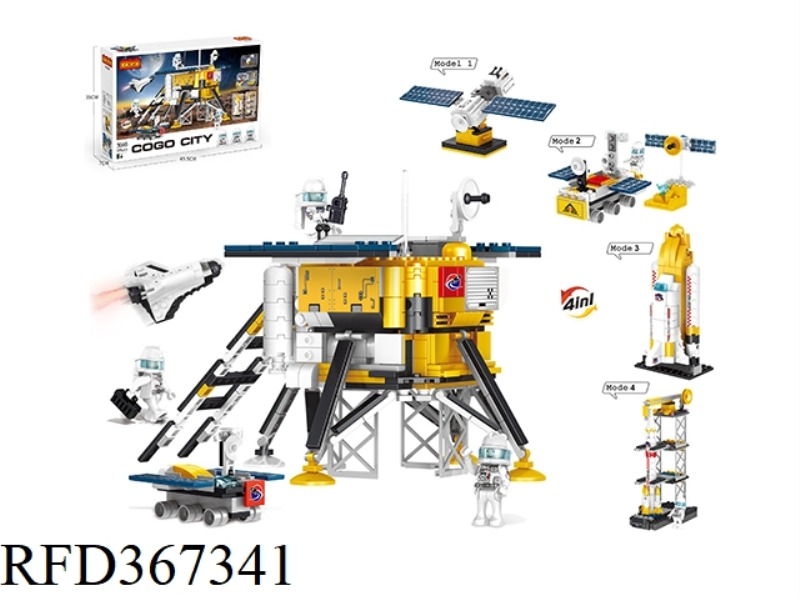 PUZZLE BLOCKS/SMALL PARTICLES/NEW AEROSPACE SERIES, LUNAR EXPLORATION LANDER 4 IN 1/595PCS
