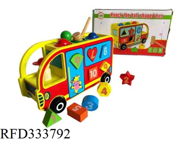 WOODEN KNOCK BALL SHAPE BUS