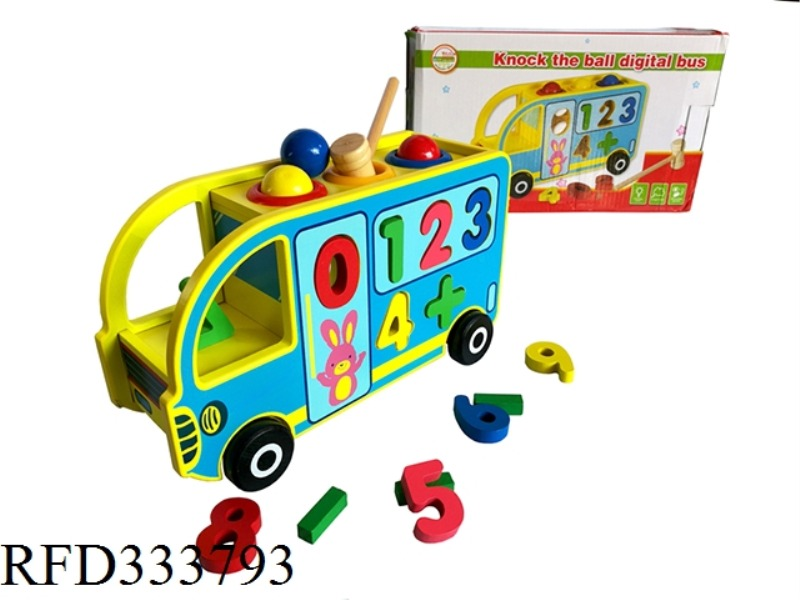 WOODEN KNOCK BALL NUMBER BUS
