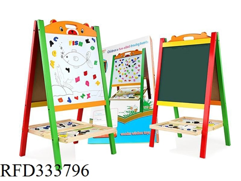 WOODEN MULTIFUNCTIONAL DOUBLE-SIDED DRAWING BOARD