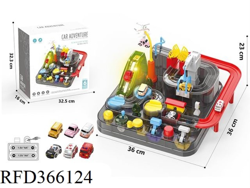 6-BUTTON BREAKTHROUGH ADVENTURE TRANSPARENT MODEL WITH 3 CARS (SOUND AND LIGHT VERSION)